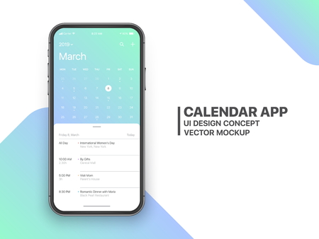 Calendar App Concept March 2019 Page with To Do List and Tasks UI UX Design Mockup Vector on Frameless Smartphone Screen Isolated on White Background. Planner Application Template for Mobile Phone Ilustração