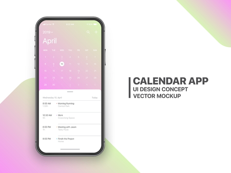 Calendar App Concept April 2019 Page with To Do List and Tasks UI UX Design Mockup Vector on Frameless Smartphone Screen Isolated on White Background. Planner Application Template for Mobile Phone Ilustração