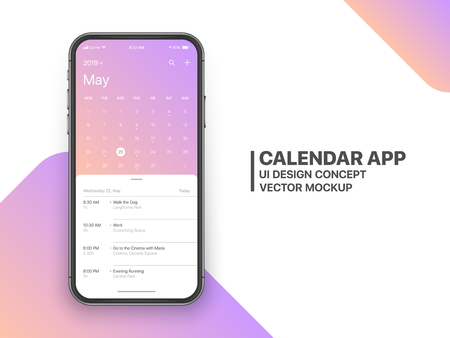 Calendar App Concept May 2019 Page with To Do List and Tasks UI UX Design Mockup Vector on Frameless Smartphone Screen Isolated on White Background. Planner Application Template for Mobile Phone Ilustração