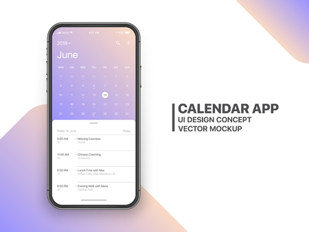 Calendar App Concept June 2019 Page with To Do List and Tasks UI UX Design Mockup Vector on Frameless Smartphone Screen Isolated on White Background. Planner Application Template for Mobile Phone