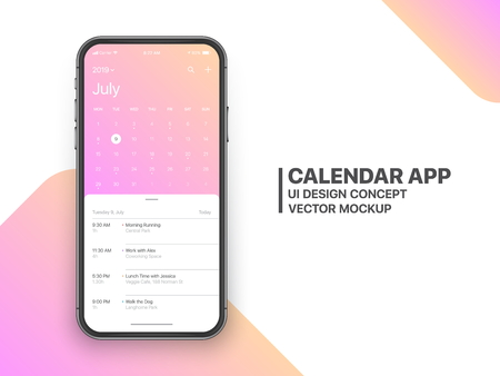 Calendar App Concept July 2019 Page with To Do List and Tasks UI UX Design Mockup Vector on Frameless Smartphone Screen Isolated on White Background. Planner Application Template for Mobile Phone