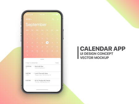 Calendar App Concept September 2019 Page with To Do List and Tasks UI UX Design Mockup Vector on Frameless Smartphone Screen Isolated on White Background. Planner Application Template for Mobile Phone
