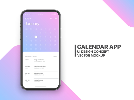 Calendar App Concept January 2019 Page with To Do List and Tasks UI UX Design Mockup Vector on Frameless Smartphone Screen Isolated on White Background. Planner Application Template for Mobile Phone