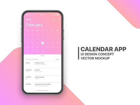 Calendar App Concept February 2019 Page with To Do List and Tasks UI UX Design Mockup Vector on Frameless Smartphone Screen Isolated on White Background. Planner Application Template for Mobile Phone Ilustração