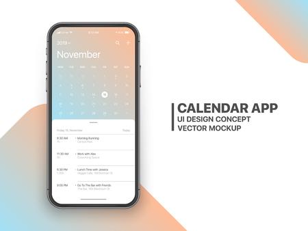 Calendrier App Concept Novembre 2019 Page avec liste de tâches et tâches UI UX Design Mockup Vector sur écran de Smartphone sans cadre isolé sur fond blanc. Modèle d'application de planificateur pour téléphone mobile