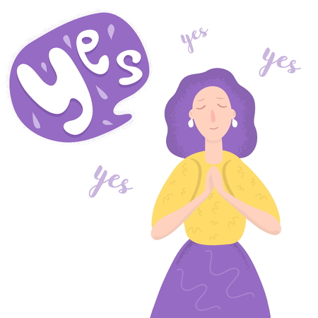 Young Woman Said Yes Cartoon Vector Art Illustration Isolated on White Background. Ask For Marriage Ilustração