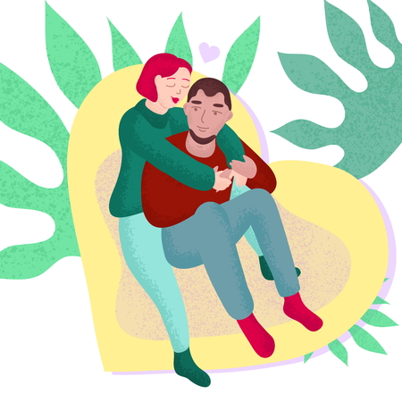 Young Couple in Love Boyfriend and Girlfriend Sit Together and Hugs on The Pouf Romantic Art Vector Illustration Isolated on White Background. Guy and Girl Celebrate Valentines Day at Home