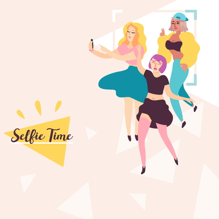 Young Best Friends Have Fun And Make Selfies On Mobile Phone Camera Flat Vector Illustration. Fashion Stylish Girls Have Selfie Time