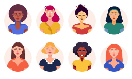 Group Of Women Of Different Races Avatar Icons Set Vector Flat Illustration Isolated On White Background. Girl Power. Women Rights