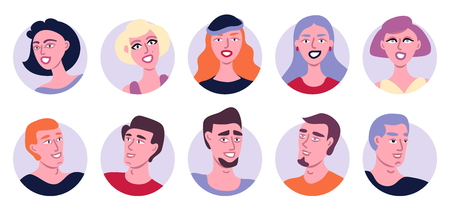 Avatar Icons Set Flat Vector Illustration. Group Of Different Young People Beautiful Women And Men Isolated On White Background. Happy Friends Day. Human Rights