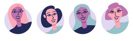 Group Of Young Beautiful Women Avatar Icon Set Flat Vector Illustration Isolated On White Background. Girls Power. Modern Stylish Woman
