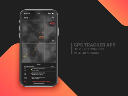 GPS Tracker Mobile App With Advanced Settings UI Concept Mock Up On Realistic Frameless Smartphone Screen Isolated on Black Background. Sport Application