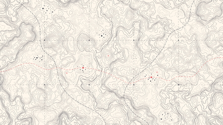 Vintage Detailed Contour Topographic Map Of Wild West Abstract Vector Background