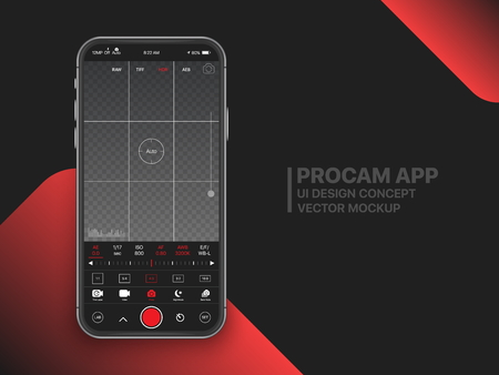 Premium Professional Photo And Video Camera Mobile App With Advanced Settings UI Concept Mock Up On Realistic Frameless Smartphone Screen Isolated on Black Background. Mobile Photography Ilustração