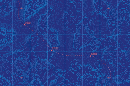 Conceptuele vector zee diepte topografische kaart