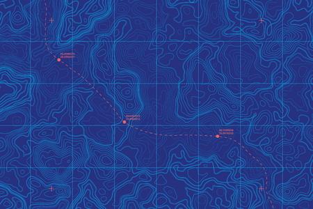 Vector conceptual mapa topográfico de la profundidad del mar
