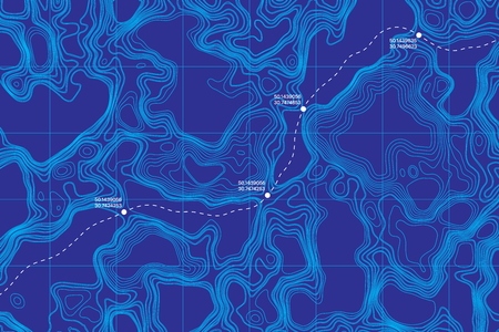 View From Above Lie Of The Ground Conceptual Vector Topographic Map With Route And Coordinates Abstract Blue Background Ilustração
