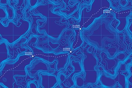 Vue d'en haut mensonge du sol carte topographique vectorielle conceptuelle avec itinéraire et coordonnées abstrait bleu