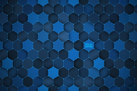 3D Technology Hexagonal Vector Abstract Background Ilustração