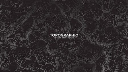 Topographic Contour Map Dark Black And White Vector Abstract Background. Rendered Wavy Lines Ultra Wallpaper. Sci-Fi Futuristic Technology Concept Line Art Picture Ilustração