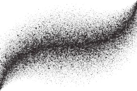 Abstract Scattered Particles Isolated On White Background. Spray Effect. Scatter Falling Black Drops. Hand Made Grunge Texture In Ultra High Quality