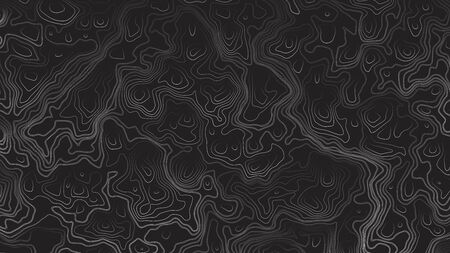 Topographic Contour Map Psychedelic Dark Abstract Background. Ultra High Quality Line Art Wallpaper