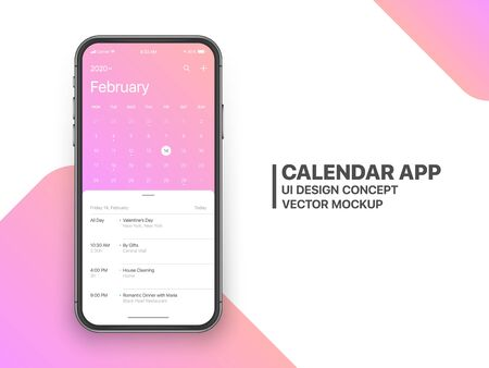 Calendar App Concept February 2020 Page with To Do List and Tasks UI UX Design Mockup Vector on Frameless Smartphone Screen Isolated on White Background. Planner Application Template for Mobile Phone