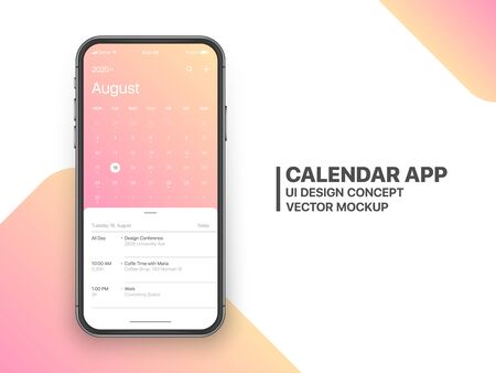 Calendar App Concept August 2020 Page with To Do List and Tasks UI UX Design Mockup Vector on Frameless Smartphone Screen Isolated on White Background. Planner Application Template for Mobile Phone