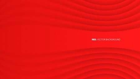 3D Vector Red Luxury Elegant Gala Ceremonial Abstract Background. Clear Blank Subtle Geometric Distorted Stripes Party Event Decoration. Minimalist Style Wallpaper. Depth Of Field Effect Vectores