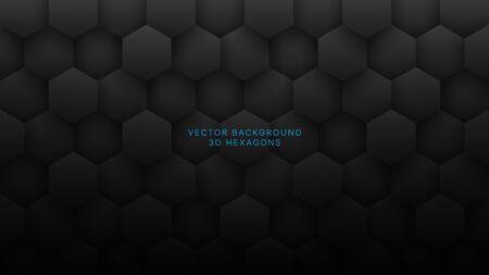 3D Vector Hexagons Grid Pattern Technological Dark Gray Abstract Background. Sci-fi Hexagonal Blocks Structure Conceptual Minimalist Art Illustration. Black Clear Blank Subtle Textured Wallpaper