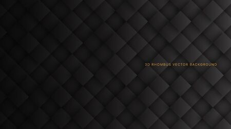 3D Vector Rhombus Blocks Grid Pattern Conceptual Sci-Fi Dark Gray Abstract Background. Three Dimensional Science Technology Tetragonal Structure Black Wallpaper. Tech Blank Subtle Textured Backdrop