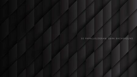 Parallelogram Blocks Conceptual Tech 3D Vector Dark Abstract Background. Science Technology Three Dimensional Rhombus Pattern Structure Sci-Fi Black Wallpaper. Clear Blank Subtle Textured Backdrop Imagens - 134392782