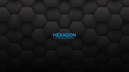 3D Vector Hexagon Tech Structure Abstract Black Background. Science Technology Hexagonal Blocks Pattern Conceptual Dark Gray Wallpaper. Clear Blank Subtle Textured Banner Empty Backdrop Illusztráció