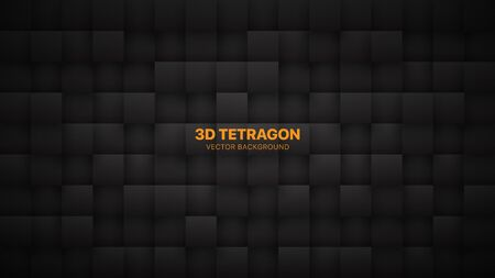 3D Vector Tetragonal Blocks Dark Gray Abstract Background. Science Technology Squares Grid Structure Conceptual Black Wallpaper. Three Dimensional Blank Subtle Textured Black Friday Sale Backdrop