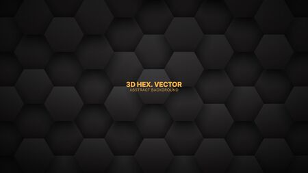 Technological 3D Vector Hexagons Darkness Abstract Background. Science Technology Hexagonal Blocks Pattern Conceptual Dark Gray Wallpaper. Black Friday Clear Blank Subtle Textured Banner Backdrop Imagens - 134392789