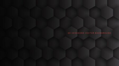 Technological 3D Vector Hexagon Blocks Black Abstract Background. Conceptual Sci-fi Hexagonal Structure Pattern Minimalist Dark Gray Wallpaper. Clear Blank Subtle Textured Banner Backdrop