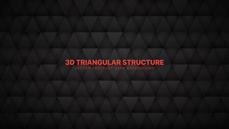 Conceptual 3D Vector Triangles Pattern Technological Dark Gray Abstract Background. Science Technology Triangular Structure Black Wallpaper. Three Dimensional Tech Clear Blank Subtle Textured Backdrop