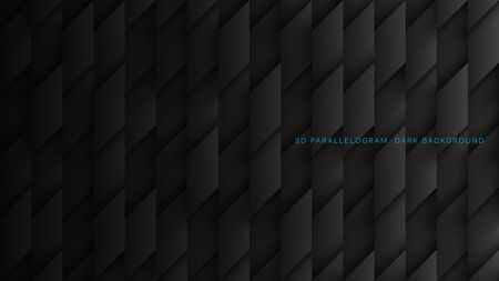 Parallelogram Blocks Conceptual Tech 3D Vector Black Abstract Background. Science Technology Three Dimensional Rhombus Structure Sci-Fi Dark Wallpaper. Clear Blank Subtle Textured Backdrop