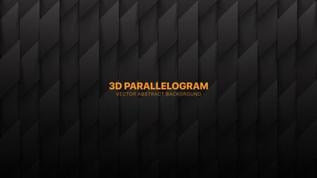 3D Vector Parallelograms Pattern Conceptual Technology Abstract Dark Gray Background. Science Technological Tetragonal Structure Darkness Wallpaper. Three Dimensional Tech Clear Blank Subtle Backdrop Imagens - 134392795