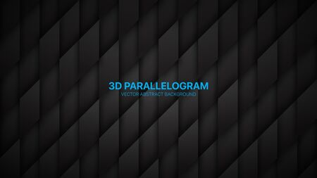 3D Vector Parallelogram Structure Conceptual Sci-Fi Abstract Dark Background. Science Technological Rhombus Pattern Black Wallpaper. Three Dimensional Tech Clear Blank Subtle Textured Backdrop