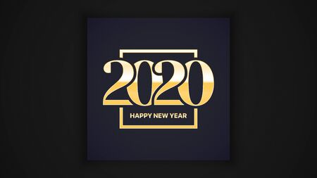 2020 Happy New Year Eve Vector Luxury Elegant Classic Greeting Card Design Template With Golden Typography Inscription. Winter Season Holidays Calendar Date Abstract Illustration