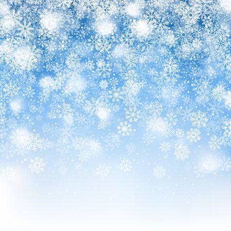 Effetto 3D della neve di Natale con i fiocchi di neve che cadono realistici e la sovrapposizione di luci su sfondo azzurro. Decorazione per le vacanze di Natale. Illustrazione astratta invernale in qualità ultra alta definizione