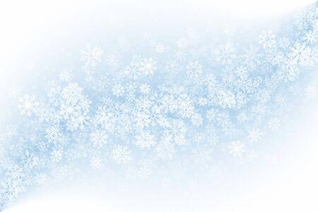 Buon Natale chiaro sfondo astratto chiaro vuoto. Effetto gelo 3D su vetro con sovrapposizione di fiocchi di neve realistici su sfondo blu. Illustrazione delle vacanze di Natale in qualità ultra alta definizione