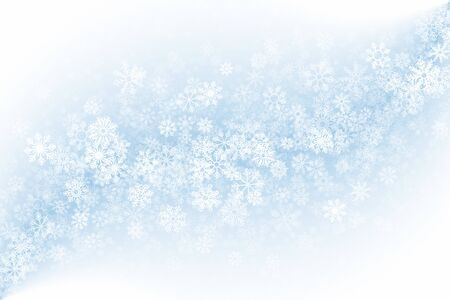 Merry Christmas Clear Empty Light Abstract Background. 3D Frost Effect On Glass With Realistic Snowflakes Overlay On Blue Backdrop. Xmas Holidays Illustration In Ultra High Definition Quality