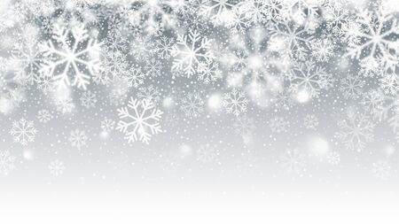 Blurred Motion Falling Snow 3D Effect With Realistic Vector White Snowflakes On Light Silver Background. Merry Christmas And Happy New Year Winter Season Holidays Abstract Illustration Ilustração Vetorial