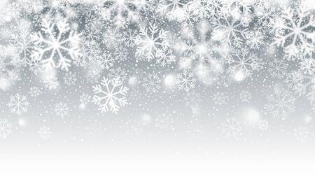 Efecto 3D de nieve caída de movimiento borroso con copos de nieve blancos vectoriales realistas sobre fondo plateado claro. Feliz Navidad y próspero año nuevo Temporada de invierno Vacaciones Ilustración abstracta Ilustración de vector