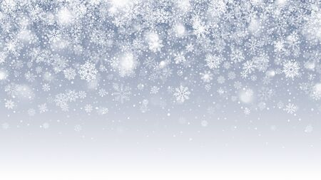 Winter Season Vector Falling Snow With Transparent Snowflakes And Lights Overlay On Light Blue Background. Merry Christmas And Happy New Year Holidays Clear Blank Subtle Design Backdrop Ilustração Vetorial