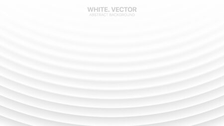 Modern Minimalist Vector White Abstract Background. Conceptual Futuristic Technology Wide Light Gray Wallpaper. Colorless Empty Surface 3D Illustration. Clear Blank Business Presentation Backdrop Vecteurs