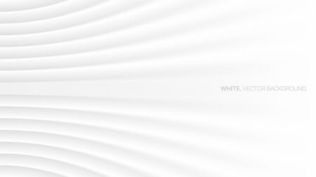 Minimalist White Abstract Background 3D Vector. Conceptual Futuristic Technology Wide Light Gray Wallpaper. Colorless Empty Blurred Surface Illustration. Clear Blank Business Presentation Backdrop