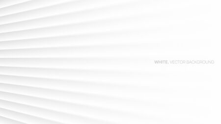 Minimalist White Abstract Background 3D Vector Smooth Perspective Lines. Futuristic Technology Wide Wallpaper. Colorless Empty Blurred Surface Illustration. Clear Blank Business Presentation Backdrop